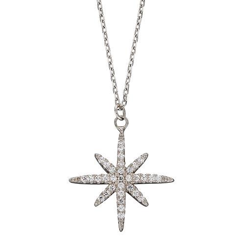 Pave Set Cubic Zirconia Starburst Necklace