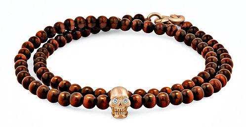 CRYPTOR GLOBAL ™️©️ Double-Wrap Skull Bracelet in 18K Gold With Diamond Eyes