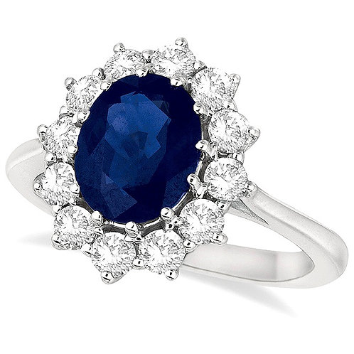CRYPTOR GLOBAL Oval Blue Sapphire & Diamond Accented Ring 14k WG (3.60ctw)