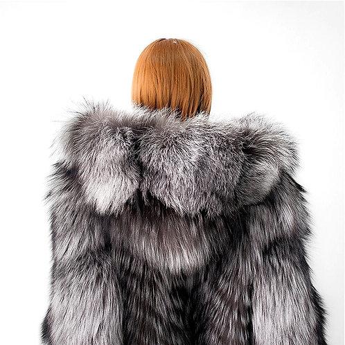 CRYPTOR GLOBAL ™️©️ Genuine Silver Fox Fur Coat with Fur Hood 160 CM X-Long