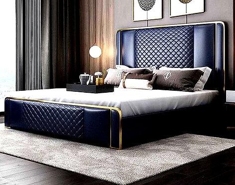 CRYPTOR GLOBAL™️©️  Manhattan Luxury Royal Blue Genuine Leather Bed