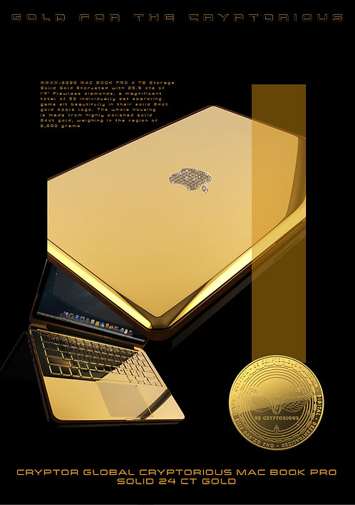 24CT Gold Embellished CRYPTOR GLOBAL CTYPTORIOUS MAC BOOK PRO 4 weeks Delivery