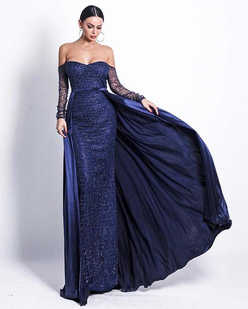 CRYPTOR GLOBAL ™️©️Evelyn Belluci Blue Off Shoulder Gown