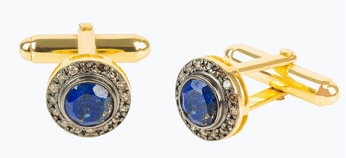 CRYPTOR GLOBAL ™️©️Diamond Gemstone Cufflink Lapis Lazuli Gold