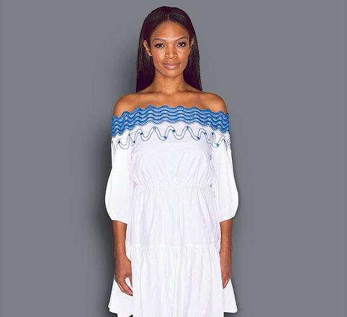 CRYPTOR GLOBAL CANNES Off- Shoulder Cotton Dress