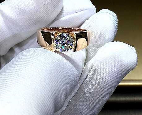 CRYPTOR GLOBAL ™️©️14K Gold Moissanite Diamond Man Ring D Color VVS