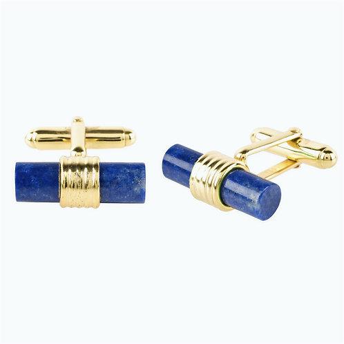 CRYPTOR GLOBAL ™️©️Cylindrical Cufflink Gold Blue Lapis Lazuli