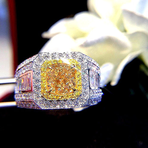 CRYPTOR GLOBAL ™️©️ PASHA Natural Yellow Diamond 18K Gold Ring