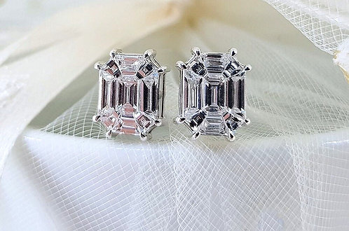 CRYPTOR GLOBAL™️™️©️ Extravagant 18k WG Diamond Earrings, 1.05ct  VVS1 E Color