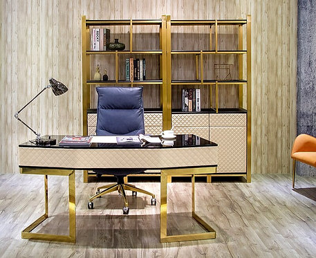 CRYPTOR GLOBAL ©️™️ Manhattan Collection White Black Gold Steel Leather Desk