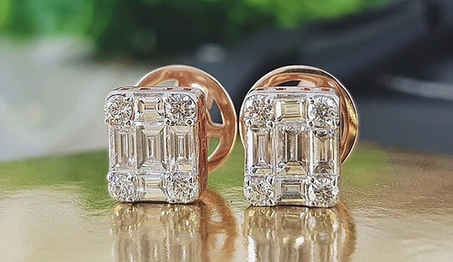 CRYPTOR GLOBAL ©️™️ 18K Rose Gold Natural VVS1 White Diamond Earrings