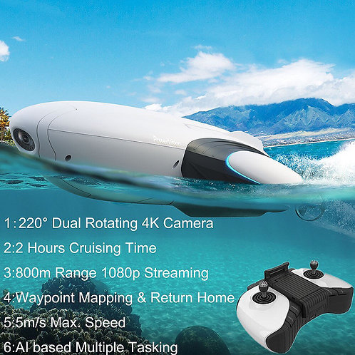CRYPTOR GLOBAL futuristic Underwater Fishing Drones With Camera HD 4K GPS Drone