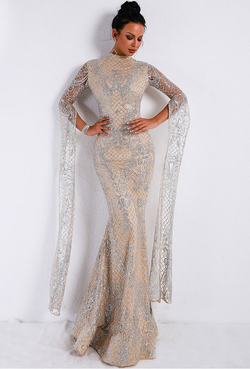 CRYPTOR GLOBAL ™️©️Evelyn Belluci High Neck Evening Gown