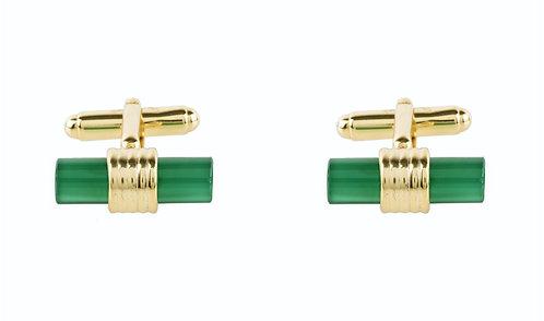 CRYPTOR GLOBAL ™️©️ Cylindrical Cufflink Gold Green Onyx