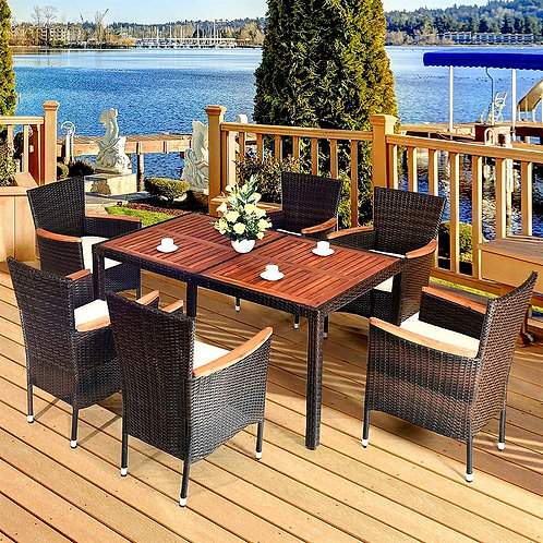 CRYPTOR GLOBAL ™️©️ CIPRIANI  7PCS Patio Rattan Dining Set with Cushions