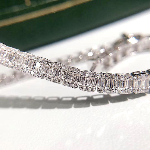 CRYPTOR GLOBAL Solid 18k Yellow White Gold 2.60ct GF Color Diamond Bracelet
