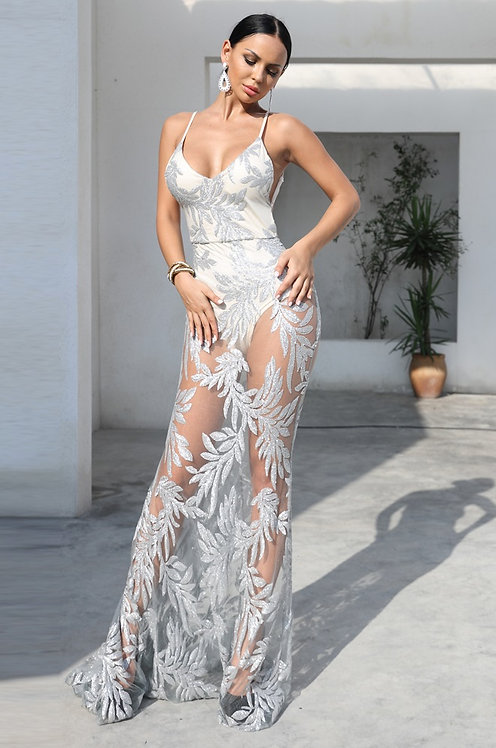 CRYPTOR GLOBAL ™️©️​​​​​​​Evelyn Belluci  Silver Sequin Maxi Dress
