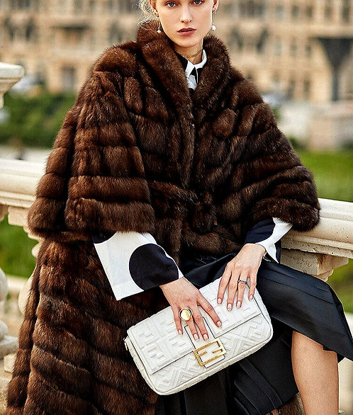 CRYPTOR GLOBAL ™️©️ Genuine Mink Sable Fur coat with Three Quarter Sleeves
