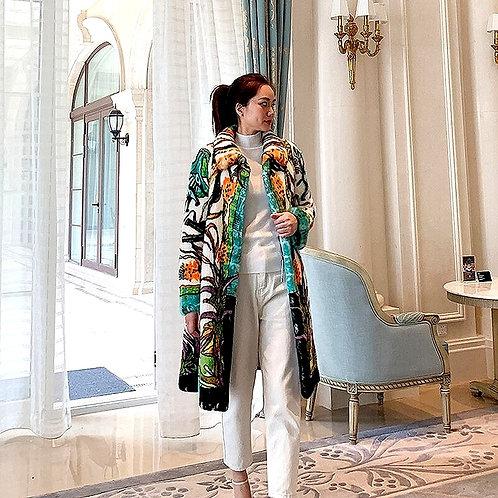 CRYPTOR GLOBAL ™️©️ Exclusive Colorful Genuine Velvet Mink Fur Coat & Hood