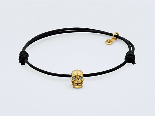 CRYPTOR GLOBAL ™️©️Skull Bracelet in 18kt Yellow Gold With Diamond Eyes