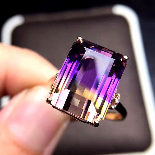 CRYPTOR GLOBAL ™️©️18K Rose Gold - Rectangle Ametrine Gemstone Ring