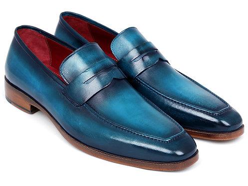 Paul Parkman Men's Penny Loafer Blue & Turquoise Calfskin (ID#10TQ84)