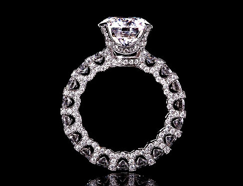 CRYPTOR GLOBAL ™️©️ 14K White Gold Ring 4ct 10 mm Round Cut FG Color Moissanite