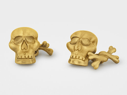 CRYPTOR GLOBAL™️©️ Skull and Bones Cufflinks in 18K Gold