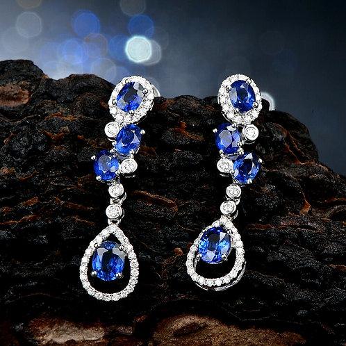 CRYPTOR GLOBAL ™️©️ 14K WG  0.37ct Diamond & 2.02ct Oval Cut Sapphire Earrings