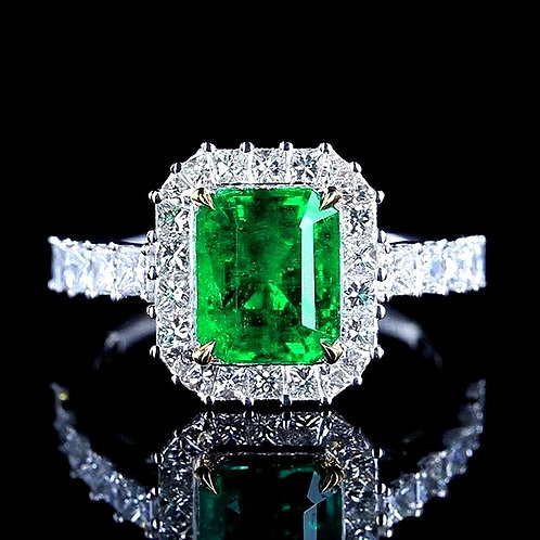 CRYPTOR GLOBAL ©️ REVER VERDE 18K Solid Gold 2.5 CT Natural Emerald Diamond Ring