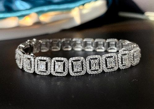 CRYPTOR GLOBAL ™️©️ WINDSOR 18K WG 5.0ct genuine Diamond Bracelet for Woman