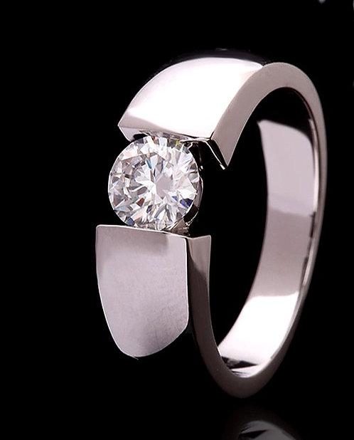 CRYPTOR GLOBAL ©️™️ Solid 18k White Gold 6.5mm 1.0 CT Moissanite Diamond Ring