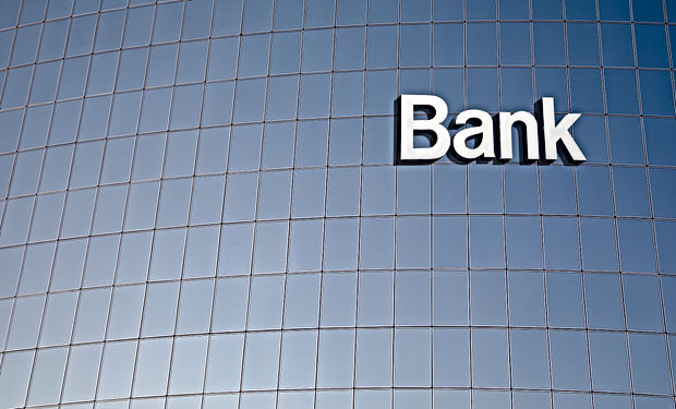 Bank sign on the modern building close u