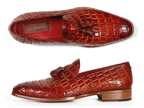 CRYPTOR GLOBAL Paul Parkman Men's Reddish Crocodile Embossed Calfskin loafer