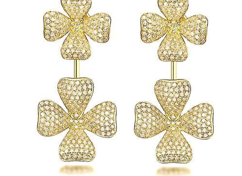 CRYPTOR GLOBAL ™️©️ 18K YG Flamboyant Diamond Earrings for the special occasion