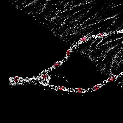 CRYPTOR GLOBAL Cryptoriganza Natural Red Ruby Necklace 18K White Gold Diamond
