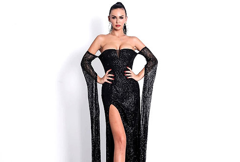 CRYPTO GLOBAL San Remo the High Slit Black Gown