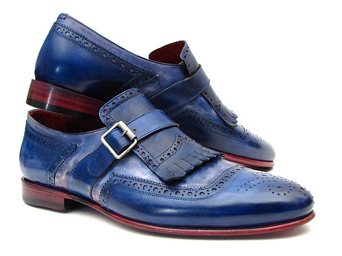 Paul Parkman Kiltie Monkstrap Shoes Dual Tone Blue Leather (ID#12BL78)