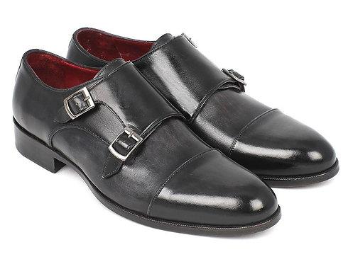 Paul Parkman Men's Cap-Toe Double Monkstraps Gray & Black (ID#0457-GRY)