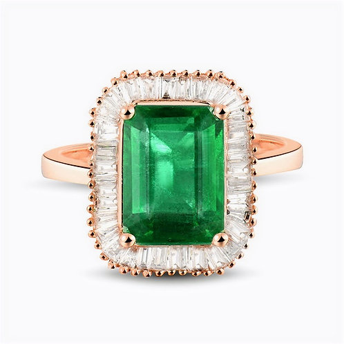 CRYPTOR GLOBAL ™️©️ 18KT Rose Gold Natural Green Emerald  Diamond Ring