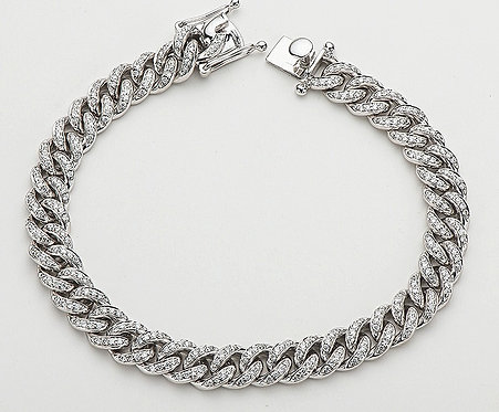 CRYPTOR GLOBAL 14K Solid WG Natural Diamond Iced Out Cuban Bracelet 1.46ct