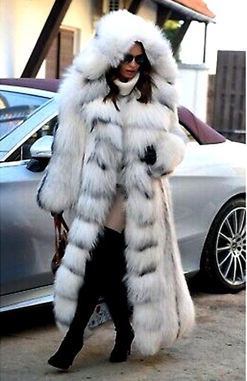 CRYPTOR GLOBAL ™️©️ Genuine Long Fox Fur Women Coat with Fur Hood