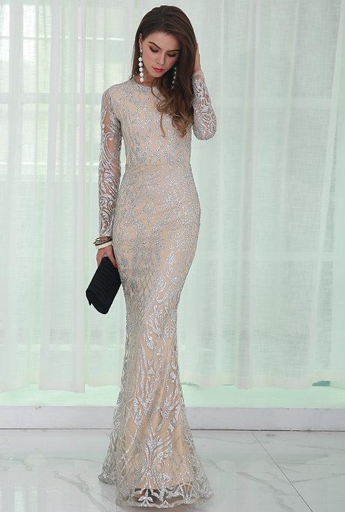 CRYPTOR GLOBAL ™️©️Evelyn Belluci  Silver Glitter Evening Dress