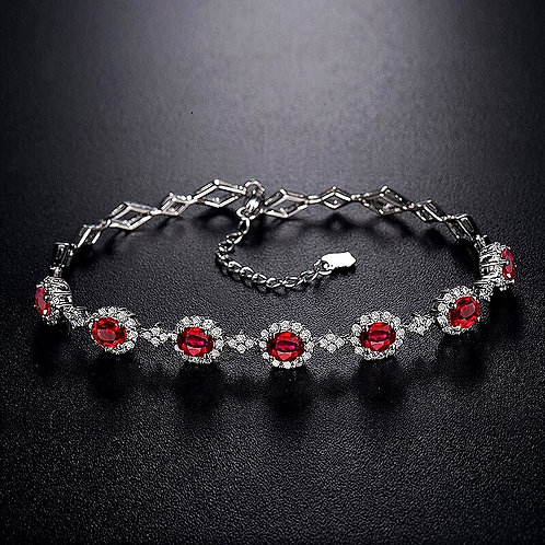 CRYPTOR GLOBAL ™️©️ Magnificent 18K White Gold Ruby-Diamond Bracelet