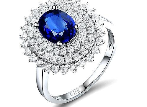 CRYPTOR GLOBAL™️©️ Luxurious Sri Lanka Blue Sapphire Oval cut Diamond Ring