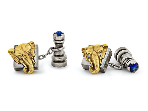 CRYPTOR GLOBAL Chess Cufflinks Sterling Silver, 18K Gold With Diamonds