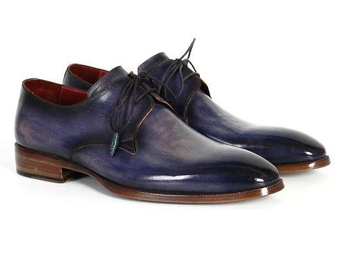 Paul Parkman Men's Blue & Navy Hand-Painted Derby Shoes (ID#PP2279)