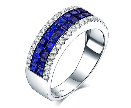 CRYPTOR GLOBAL ™️©️ 14K WG Blue Princess Sapphire the Stone of Royalties Ring