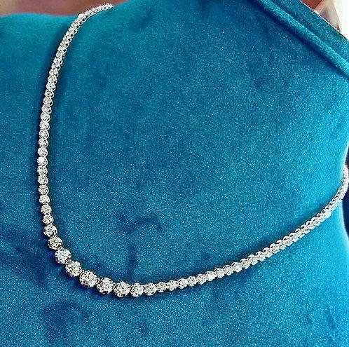 "CRYPTOR GLOBAL™️©️ ""Milano"" 18K WG 6CT Genuine Diamond Luxury Necklace"