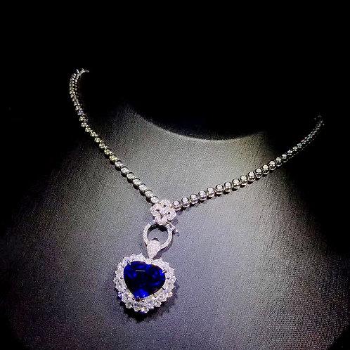 CRYPTOR  GLOBAL ™️©️ 18k WG Diamond - Natural Blue Sapphire Necklace/Pendant